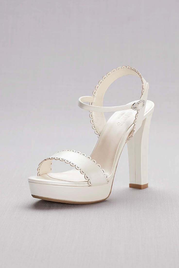 b29656960518 David s Bridal Ivory Heeled Sandals (Pearlized Platform Sandals with  Scalloped Edges)