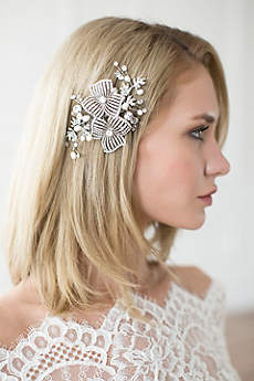Hand-Wired Double Flower Crystal Hair Comb