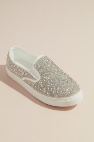 Blossom White Sneakers and Casual (Crystal Embellished Slip-On Sneaker)