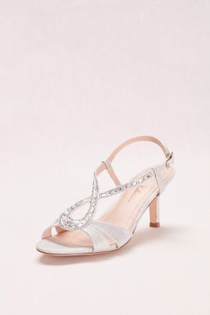 Blossom Beige;Grey Heeled Sandals (Low Heel Glitter and Crystal Embellished T-Strap)