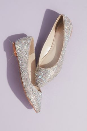 David's Bridal Pink;White Ballet Flats (Crystal and Iridescent Stone Ballet Flats)