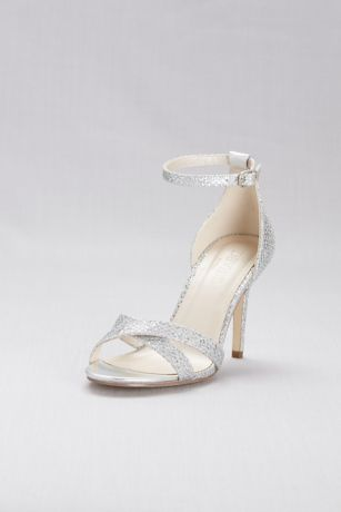 David's Bridal Grey Heeled Sandals (Glitter Fabric Crisscross Heels)