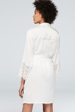 Metallic Script Bride Satin Robe