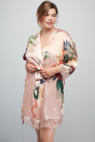 Floral and Lace Satin Robe