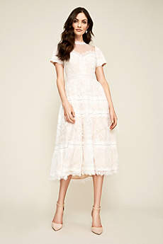 Tea Length Short Sleeves Dress - Tadashi Shoji