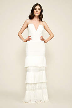 Long Sheath Beach Wedding Dress Tadashi Shoji