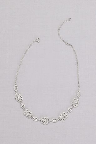 Pave Crystal Filigree Medallion Necklace