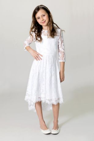 High Low A-Line 3/4 Sleeves Dress - US Angels