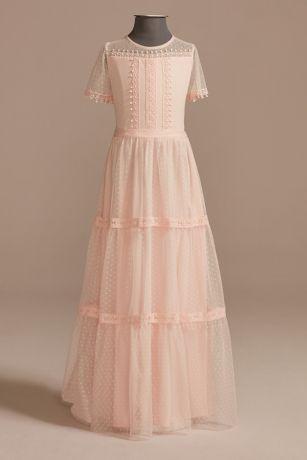 Long A-Line Short Sleeves Dress - US Angels