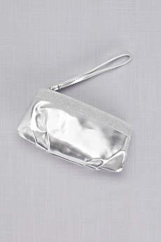 Emily Metallic Wristlet with Glitter Trim