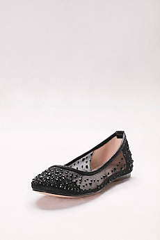 Blossom Black (Mesh Ballet Flats with Scattered Crystals)