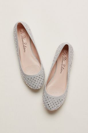 David's Bridal Grey Ballet Flats (Crystal Embellished Ballet Flats)