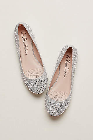 David S Bridal Grey Ballet Flats Crystal Embellished