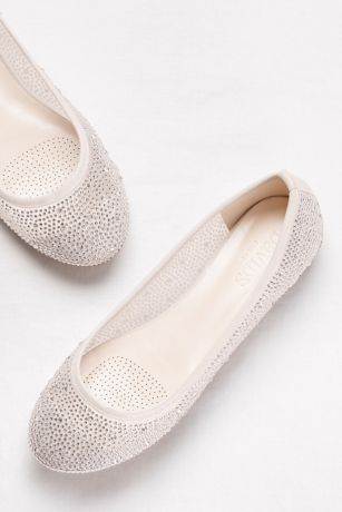 David's Bridal Beige;White Ballet Flats (Mesh and Scattered Crystal Ballet Flats)