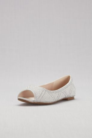 304fcf2ba1717e Blossom Beige Grey White (Studded Pearl and Crystal Peep-Toe Flats)