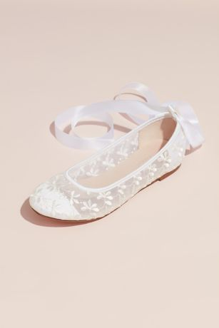 Blossom White Ballet Flats (Embroidered Lace-Up Floral Illusion Ballet Flats)