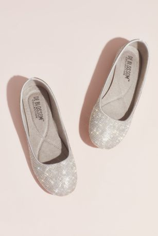 Blossom Grey Ballet Flats (Allover Crystal Ballet Flats with Satin Piping)