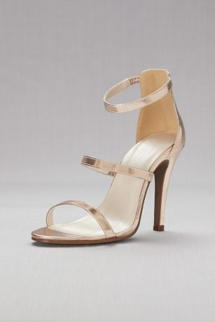 David's Bridal Grey;Pink Sandals (Triple-Strap Metallic Stiletto Sandals)