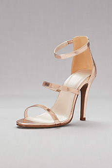 Davids Bridal Grey Sandals Triple Strap Metallic Stiletto Sandals