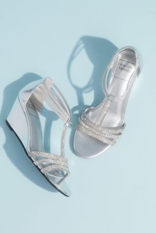 New York Transit Grey;Pink Wedges (Metallic Wedge T-Strap Sandals with Tonal Crystals)