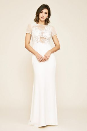 Tanya Rose Lace Crepe Short Sleeve Wedding Dress