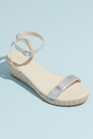 Touch Ups Beige;Grey Wedges (Metallic Strap Espadrille Wedge Sandals)