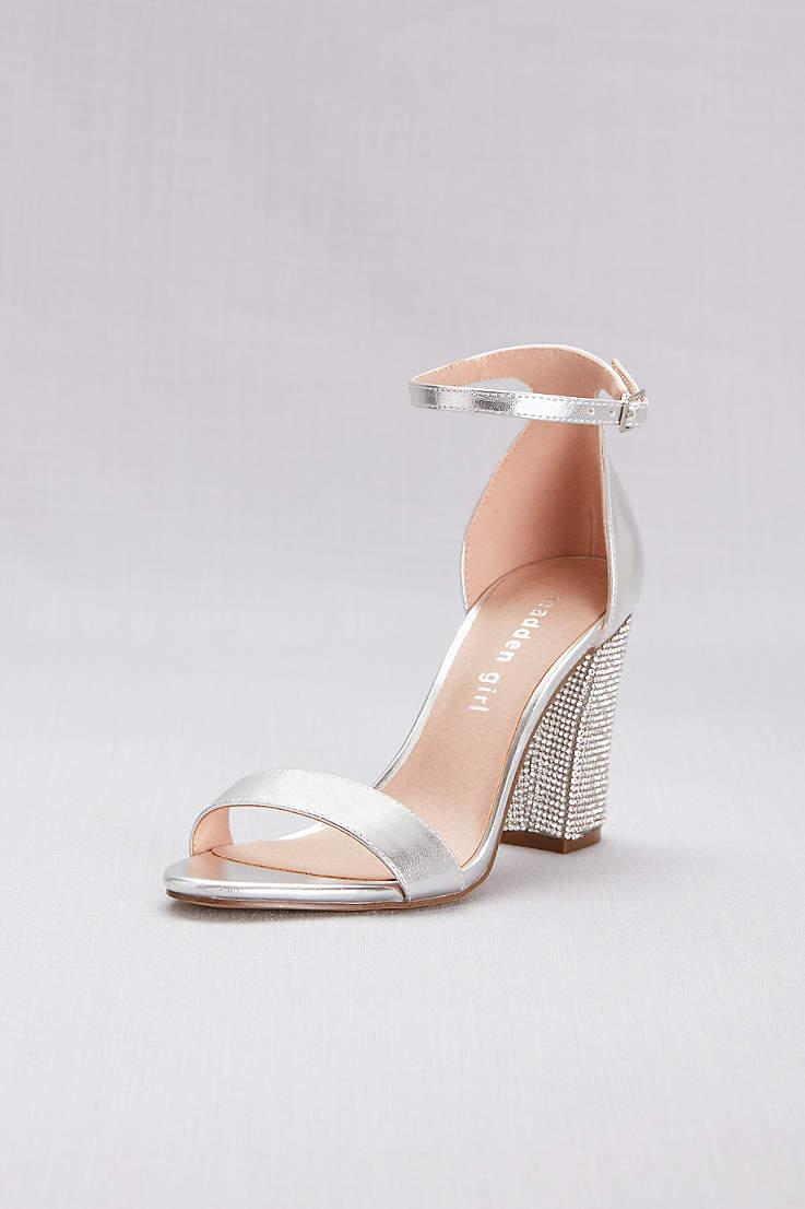 Prom Heels Shoes And Sandals Davids Bridal High Heel Slides With Pompoms Grey Embellished Block Ankle Strap