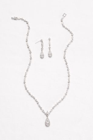 Dainty Cubic Zirconia Necklace and Earring Set