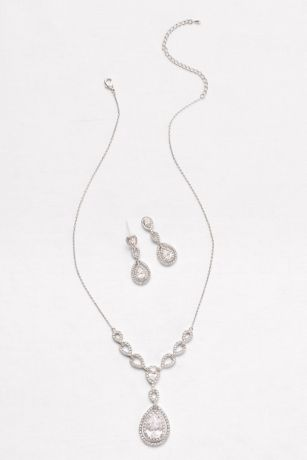 Layered Cubic Zirconia Necklace and Earring Set