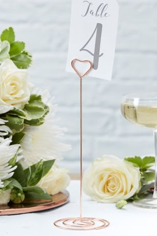 Rose Gold Heart Table Number Stand