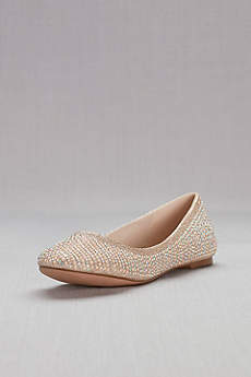 David's Bridal Beige Ballet Flats (Pearl and Crystal Ballet Flats)