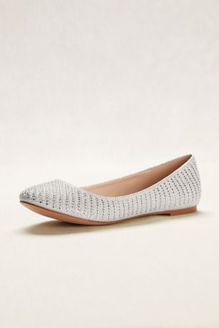 David's Bridal Beige;White Ballet Flats (Crystal and Pearl Ballet Flats)