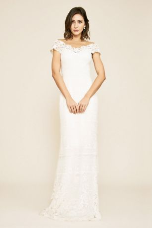 Long Sheath Cap Sleeves Dress - Tadashi Shoji