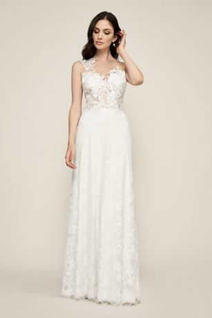 867b3d803a Long Sheath Wedding Dress - Tadashi Shoji