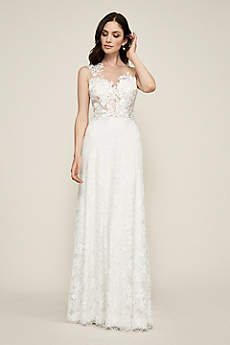 Long Sheath Boho Wedding Dress - Tadashi Shoji