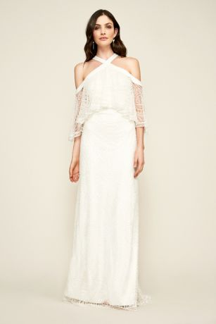 Long A-Line Off the Shoulder Dress - Tadashi Shoji