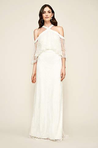 Off the shoulder wedding dresses gowns davids bridal long a line beach wedding dress tadashi shoji junglespirit Gallery