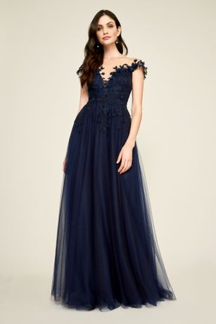 Long Ballgown Off the Shoulder Dress - Tadashi Shoji