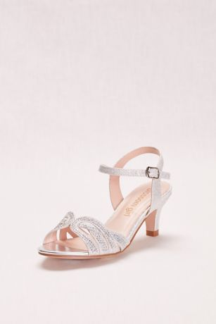 "Blossom Grey Flowergirl Shoes (Girls"" Low Heel Quarter Strap Crystal Sandal)"