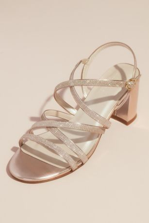 David's Bridal Pink Heeled Sandals (Metallic Block Heel Sandals with Glitter Straps)
