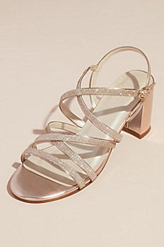 Metallic Block Heel Sandals with Glitter Straps BEAU