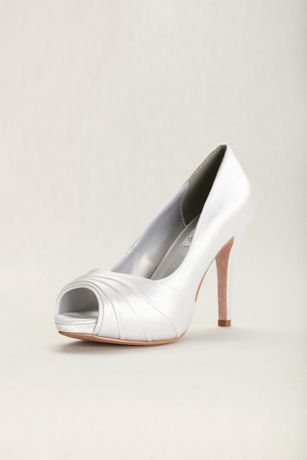 Dyeables White Peep Toe Shoes (Bea Satin Dyeable High Heel Peep-Toe Pump)
