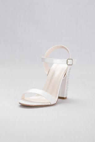 Crystal Patterned High Block Heel Sandals