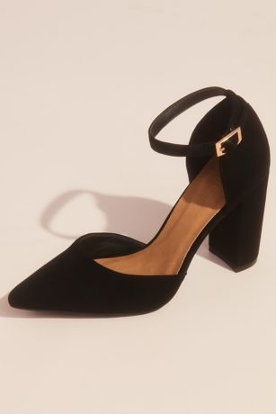 Block Heel Sueded DOrsay Shoes with Ankle Strap