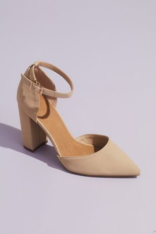 "Bamboo Beige;Black Heeled Sandals (Sueded D""Orsay Block Heel Shoes with Ankle Strap)"