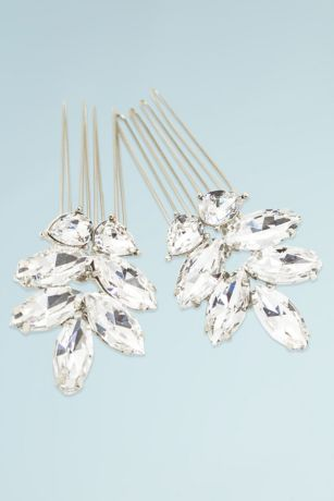 Hand-Wired Swarovski Crystal Leaf Motif Comb Set