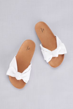 David's Bridal White Flat Sandals (Footbed Flatform Slide Sandals with Bow)