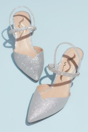 "Nina Beige;Grey Closed Toe Shoes (Glitter Crystal Strap Slingback D""Orsay Heels)"