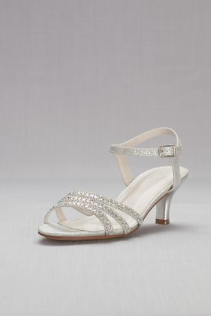 David's Bridal Beige;Grey Heeled Sandals (Strappy Low Heel Sandals with Crystals)