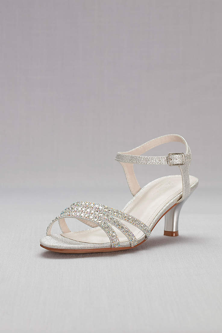 1018cf50391ed5 David s Bridal Grey Heeled Sandals (Strappy Low Heel Sandals with Crystals)